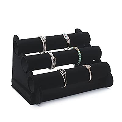 TWING 3 -TIER Black Velvet Bracelet Holder -Watch Necklace Jewelry Display Stand and Organizer Rack