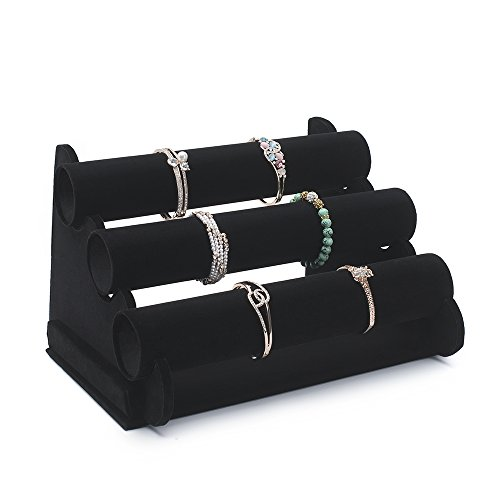 TWING 3 -TIER Black Velvet Bracelet Holder -Watch Necklace Jewelry Display Stand and Organizer (Bracelet Watch Jewelry Display)