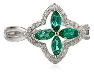 Sterling Silver Created Emerald and Diamond Cross Ring (0.17cttw, I-J Color, I2-I3 Clarity), Size 7