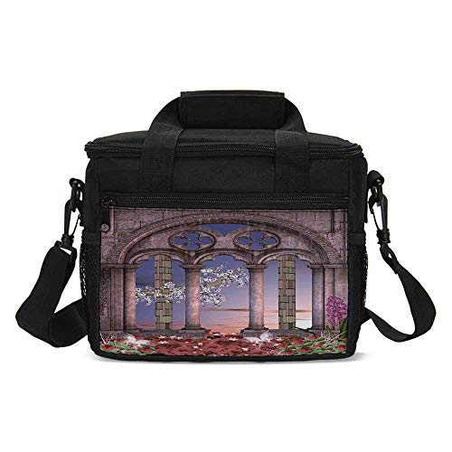 - Gothic Lightweight Lunch Bag,Ancient Colonnade in Secret Garden with Flowers at Sunset Enchanted Forest for Daily Use,One size