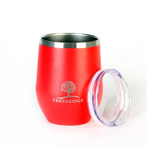 Treebridge Stemless Wine Glass Tumbler | Stainless Steel Double Wall Vacuum Insulated Cup w/BPA Free Lid | Great mug for Wine, Coffee, Ice Cream, or Juice | 12 oz. (Red) (Best Red Wine Antioxidants)