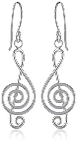 Sterling Silver Polished Music Earrings