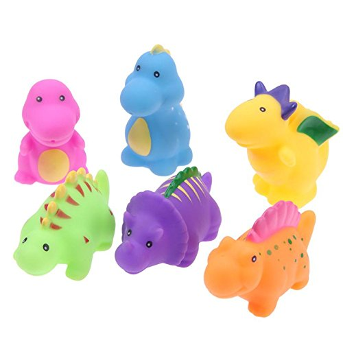 (GreenSun TM 6Pcs/Set Cute Dinosaur Baby Bath Toy Lovely Soft Vinyl Animal Water Floating Infant Kids Showing Bath Tub Swimming Bathing Toy)