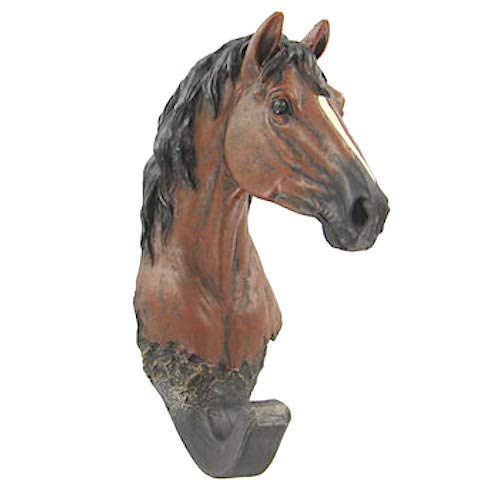 Coconut Grove Galleria Horse Head Wall Mount Hook Brown Black Gold White