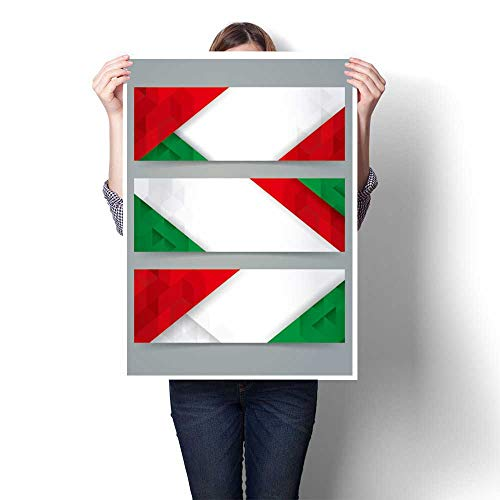 Panels Wall Art Waves Painting on Canvas Collection Banner Design, Italian Flag Colours Painting,28