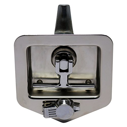 (TCH Hardware Stainless Steel T-Handle Cam Latch with Mounting Studs & Lock Dust Cover - Folding T Handle Latch RV Camper Truck Trailer Toolbox)