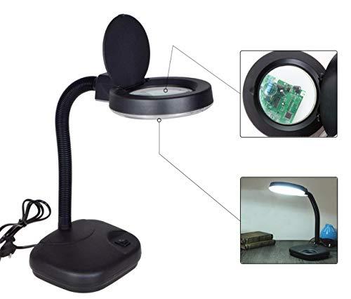 5x 10x ligero Portable mesa computadora Lupa Cuello de cisne lámpara con lupa (Luz ajustable color negro