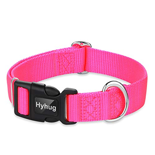 Hyhug Pets Classic Regular Heavy Duty Nylon Dog Collar with Easy to Attach and Removal Buckle. (Large, Hot Pink)