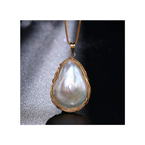 (Prosperous-Blooming Baroque Gold Wire Wrap Pearl Pendant Necklaces Irregular NaturalFreshwater Pearl Necklaces)