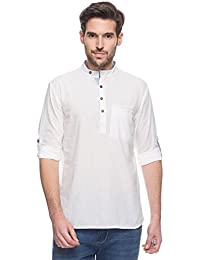 Men's Indian Short Kurta Tunic Banded Collar Textured Shirt