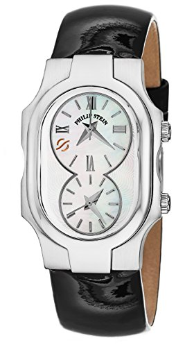 (Philip Stein Signature Ladies Black Leather Strap Dual Time Watch 1-CMOP-LB)