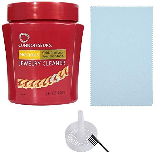 Cleaner for Diamond, Platinum & Precious Stones with Bonus Ultra Soft Polishing Cloth, Basket and Brush (Precious Jewelry Cleaner & Polishing Cloth, Pack of 2) ()