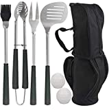 POLIGO 7pcs Golf-Club Style BBQ Grill Tool Set with Rubber Handle - Stainless Steel BBQ Accessories in Golf-Club Style Bag - Complete Barbecue Grilling Utensils Set - Birthday for Menn
