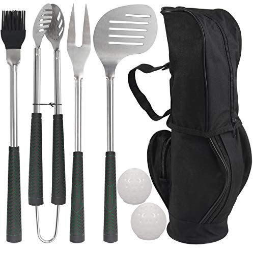 POLIGO 7pcs Golf-Club Style BBQ Grill Tool Set with Rubber Handle - Stainless Steel Barbecue Grilling Accessories in Golf-Club Style Bag for Camping - Ideal Father's Day Birthday Gifts for Dad Men