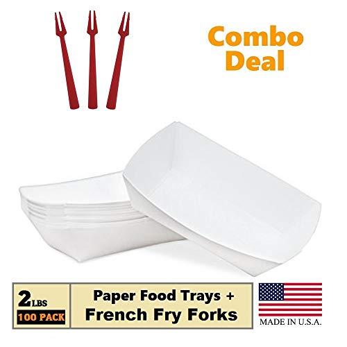 Bandeja de papel para alimentos, 2 lb blanco Nacho, amigos, perros de maíz caliente, saca el barco cestas soporte...