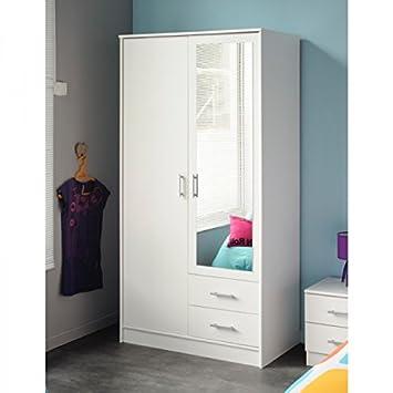 Kleiderschrank weiß 2 Türen 2 Schubladen B 90 Schrank
