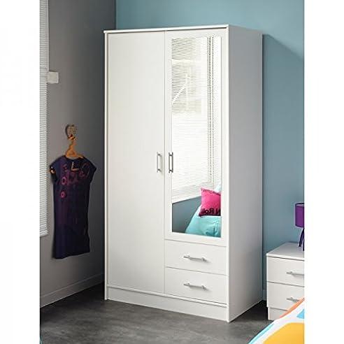 Kleiderschrank weiß 2 Türen + 2 Schubladen B 90 Schrank ...