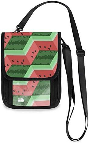 トラベルウォレット ミニ ネックポーチトラベルポーチ ポータブル 幾何学 スイカ ストライプ 小さな財布 斜めのパッケージ 首ひも調節可能 ネックポーチ スキミング防止 男女兼用 トラベルポーチ カードケース