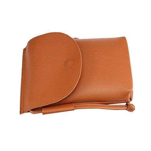 Bolso de Bandolera, Asnlove 5.5 Pulgadas Mujeres Bolsa de Mensajero Bolso de cuero Bolsas de teléfono Oficina Ocio Clásico Maletin Multiusos Briefcase 3#-Marrón