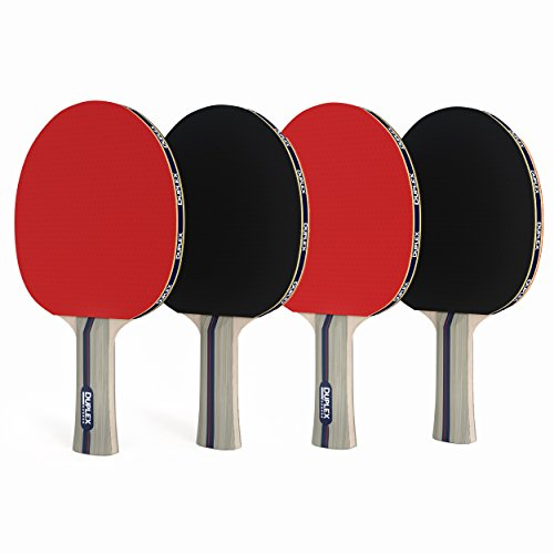 Great Deal! Duplex | Ping Pong Paddle Set of 4 - Best Professional Table Tennis Racket with High Per...