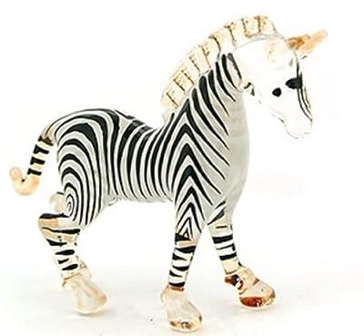 Aquarium MINIATURE HAND BLOWN Art GLASS Small Zebra Head Up FIGURINE Collection