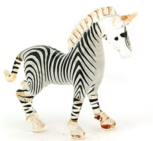 Aquarium MINIATURE HAND BLOWN Art GLASS Small Zebra Head Up FIGURINE Collection