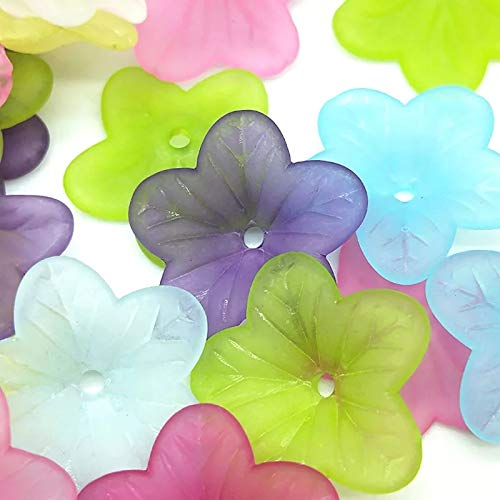 70pc Bright Assorted Multi Color Frosted Flat Bell Flower Beads for Jewelry Making - 18mm