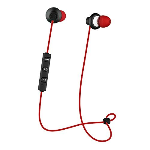CYLO SNAP+UP Wireless Bluetooth Earbuds/Earphones/Headphones, With Snap Closure, Tangle-Free Wire, In-Line Microphone and Remote and High-Definition Audio (Red/Black) (Bluetooth Snap)
