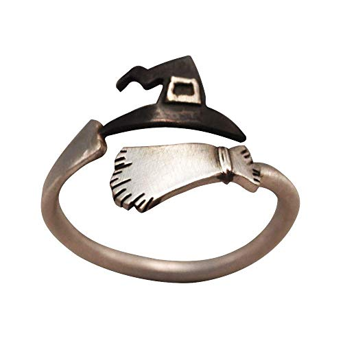 Orcbee  _Cute Halloween Ghost Witch Broom Finger Ring Open Rings Party Cosplay ()