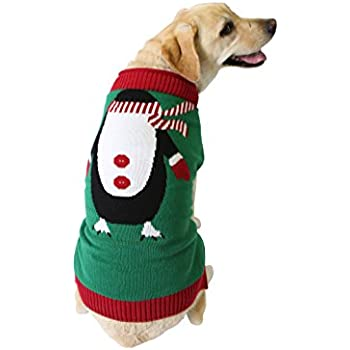 Ugly Christmas Sweater Penguin Dog Sweater, X-Large