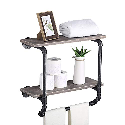 (Ucared Industrial Pipe Shelves 2 Tiers Wall Mounted Shelves,Rustic Wall Shelf with Towel Bar,24