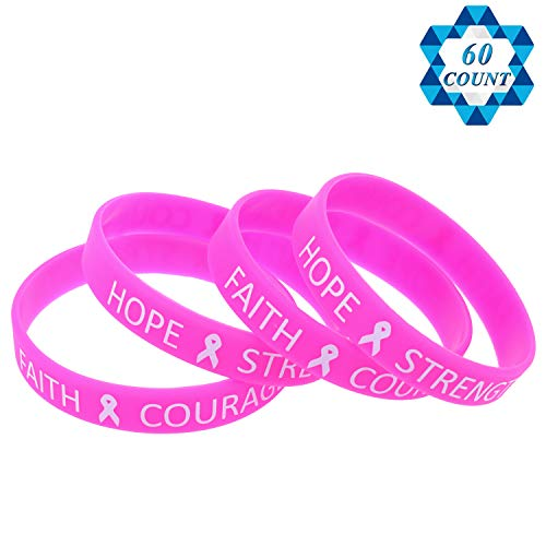 SOTOGO 60 Pieces Pink Ribbon Bracelets Breast Cancer Awareness Rubber Wristbands Careful Wristbands Unisex
