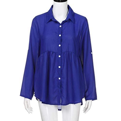 Chemise Taille Mousseline en Bleu Plus T pour de Homme pour Longues dcontracte Courroie Manches Femme Solide bleu Plan Travail OL AiBarle XL w0v4z