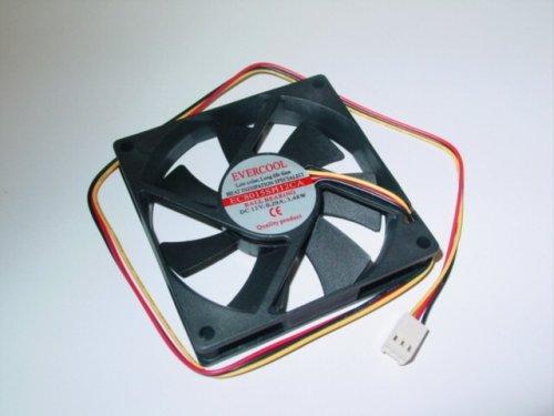 Evercool 80x15mm Med Speed Single Ball Bearing Fan # EC8015M12CA. (80x80x25mm Low Noise Ball Bearing)