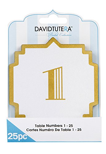 David Tutera Art Deco Table Numbers - Cream/Gold - 25 Pieces ()