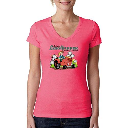 Fun Sprüche Girlie V-Neck Shirt - Auf Landfrauen schauen by Im-Shirt Light-Pink
