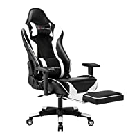 Gaming Chair High Back Ergonomic Racing Chair with Footrest PU Leather Adjustable Swivel Office Chair with Headrest and Lumbar Support(White)