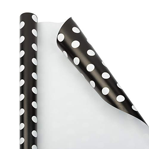 JAM PAPER Gift Wrap - Polka Dot Wrapping Paper - 25 Sq Ft - Black with White Dots - Roll Sold Individually ()
