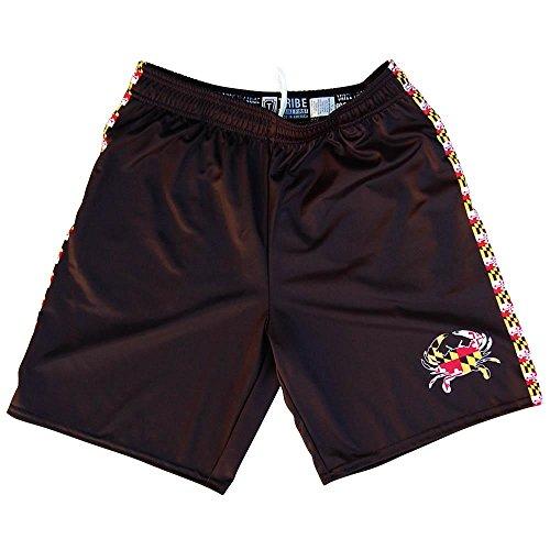 Maryland Flag Crab Lacrosse Shorts, Black, Adult (Mens Lacrosse Shorts)
