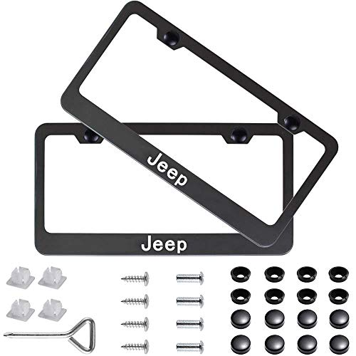 Fubai Auto Parts 2pcs Stainless Steel License for Jeep, Plate Frame with Screw Caps Cover Set, Matte Black