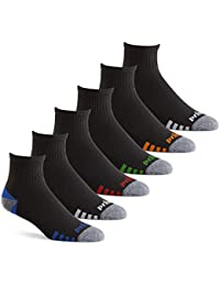 Mens Quarter Performance Athletic Socks for Running, Tennis, and Casual Use (6 Pair Pack)