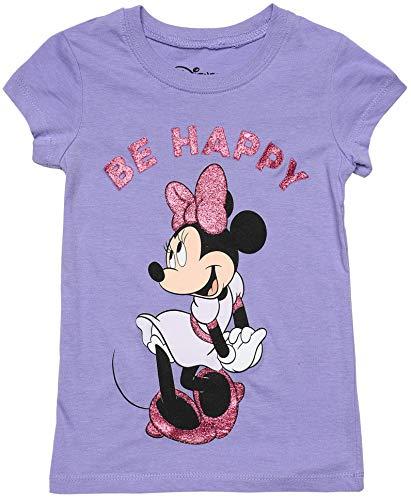 Disney Girls T-Shirt Minnie Mouse Glitter Graphic Print (Light Purple, Small) ()