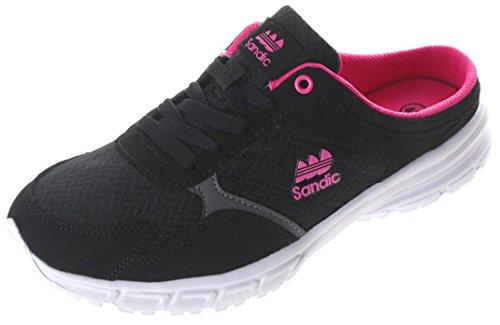 Sandic Damen Pantolette Sabot Clogs Sneaker SLIPPER-223 Black/Fuxia