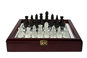 "10.2"" Mirrored Chess Game Box Set Withpiece - Black & White"