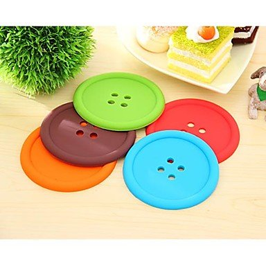 kaifina-buttons-pattern-silicone-cup-mat-1-set-4-pcs-random-color