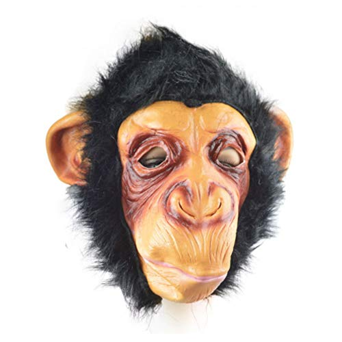 Chimpanzee Gorilla Head Mask Halloween Party Costume Decorations Adult Size]()