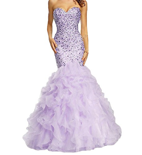 Mermaid Ruffles Fanciest Organza Formal Prom Women's Gowns Lavender Evening Dresses twaPF
