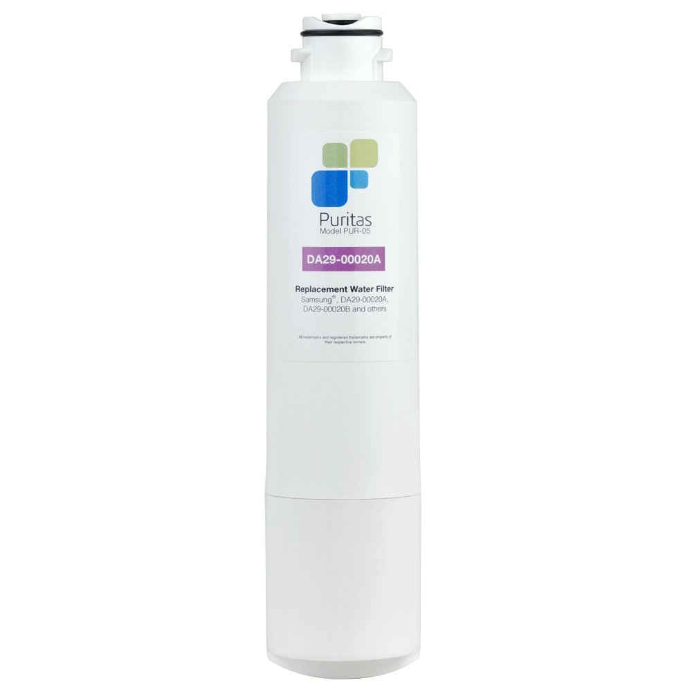 Puritas PUR-05 Refrigerator Water Filter Samsung DA29-00020B Filter Replacement Extremely Porous Activated Carbon for Chlorine Reduction 6 Month Filter 300 Gallon Capacity - Made in the USA