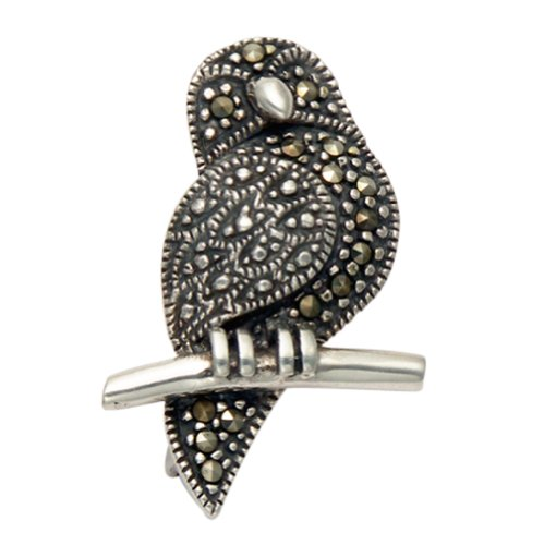 Sterling Silver Marcasite Owl on a Branch (Marcasite Owl Pin)