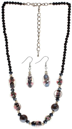 Jet Black Murano Glass Necklace and Earrings Set